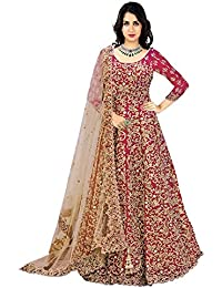 Generic Aryan Fashion Women's Banglory Silk Semi-Stitched Lehanga Choli (Red)