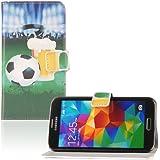 tinxi® Kunstleder Tasche für Samsung Galaxy S5 / S5 NEO Schutzhülle Flipcase Schale Cover Etui Skin Standfunktion mit Karten Slot Weltmeisterschaft