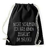 Top 10 Sprüche & Designs auswählbar / Sambosa Turnbeutel mit Spruch / Beutel: Schwarz / Rucksack / Jutebeutel / Sportbeutel / Hipster , Bag:Joghurt