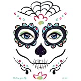 ZHONGYU Kit temporal del tatuaje de la cara, día de la mascarada de los muertos esqueleto cráneo cara completa tatuajes de maquillaje Sticker Halloween Decor Props para niñas damas