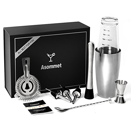 Premium Cocktail Set mit Boston Cocktail Schüttelbecher ASOMMET Cocktail Shaker Glass Top 500ml ,800ml Stainless Steel Base Rezeptbuch mit Rezepten, 25ml & 50ml Messbecher, twisted barlöffel, Cocktailset Mixer mit Sieb, Holzstössel, 3 Pcs Edelstahl Flaschenausgießer und Elegante Geschenkbox