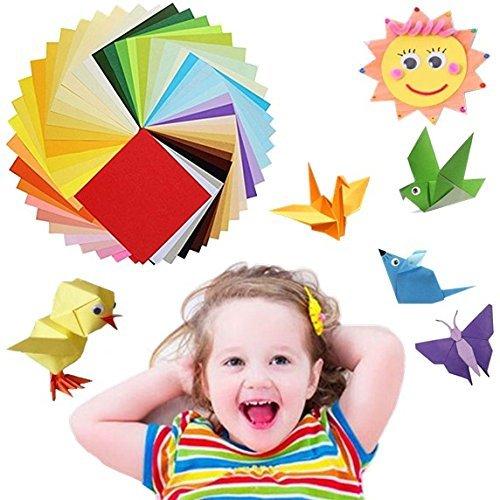Origami Papier Set, 50lebendigen Farben 100Blatt Origami Papier, bunt, DIY Papier für Kunst und Handwerk, gleichen Farbe auf beiden Seiten, Dover Origami im Papierbasteln, tolle DIY Arts für Vorschule, gefaltet Papier