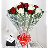 Floraindia Fresh Flowers Bunch of 12 Assorted Roses with Complimentary Card
