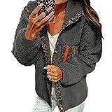 aixingwuzi dependable Autumn Winter Women Fashion Casual Solid Color Leopard Print Fleece Button Jacket Long Sleeve Open Front Lapel Jacket Coat(None L L)