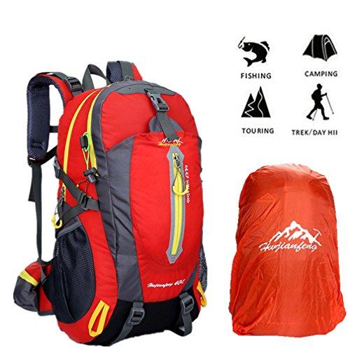 40L Wanderrucksack Trekkingrucksack, Herren Wasserdichter Rucksack Reiserucksack für Outdoor Camping mit Regenabdeckung von BLF Rot