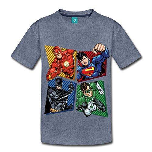 s Justice League Superhelden Kinder T-Shirt, 134/140 (8 Jahre), Blau Meliert (Kinder Superhelden)
