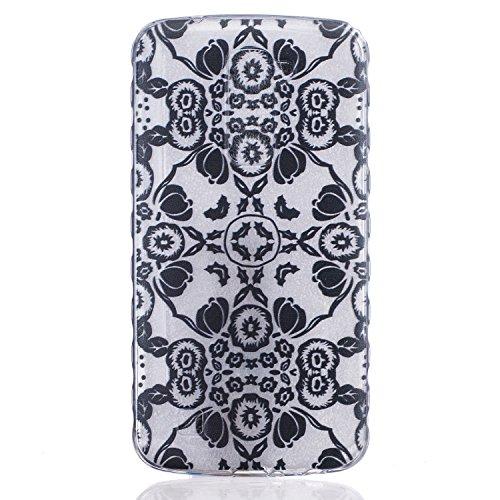 Cozy Hut Crystal Case Hülle für LG K10 aus TPU Silikon mit Schwarze Blumen Design - Schutzhülle Cover klar in schwarz Weiß Transparent - Schwarze Blumen