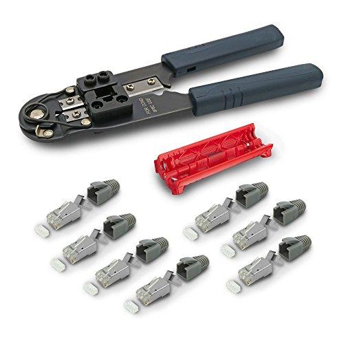 Crimp Rj-45-stecker (ARLI RJ45 Crimpzange Kabelmesser 20x Netzwerkstecker Netzwerk Stecker RJ-45 Modular mit Zugentlastung Knickschutz Tülle Einführhilfe AWG23 8 polig Plug für Verlegekabel Cat7 Cat6a Cat6)