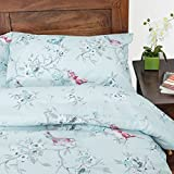 HOMESCAPES Blue Birds Pattern Floral Duvet Cover Set with Matching Housewife Style Pillowcases, King