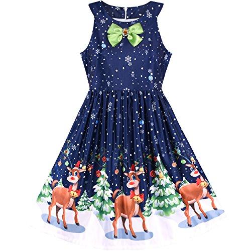 Sunboree Mädchen Kleid Weihnachten Vorabend Weihnachten Baum Schnee Rentier Party Gr. 122