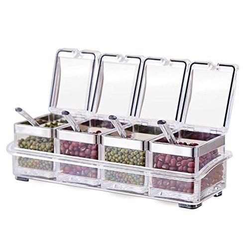 Trenta Gewürzbox für die Küche Acryl-Gewürzbox mit 4Servierlöffel, schönes Design für die Küche