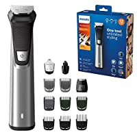 Philips Series 7000 12-in-1 Ultimate Multi Grooming Kit for Beard, Hair and Body with Nose Trimmer Attachment, Premium Metal Handle - MG7735/33