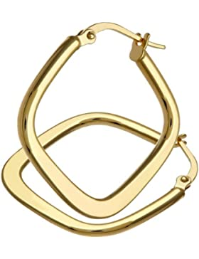 Citerna Damen-Creolen 9 K kegelförmig quadratische 375 Weißgold rhodiniert 2, 2 cm