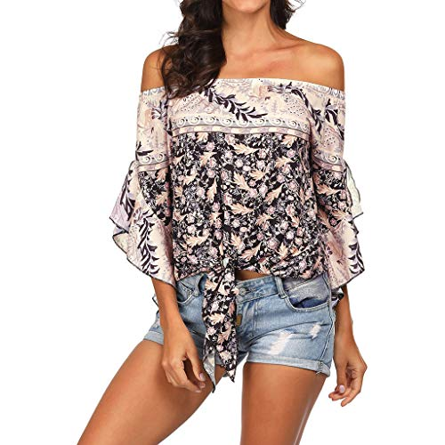 Andouy Damen Top Ethnic Boho Schulterfrei Flare Kurzarmhemd Gr.36-40 Beach Sunscreen Knotted Bluse(L(40),Beige)