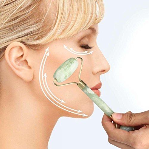 Toamen Dispositif de BeautéMassage Facial Corps de visage de Rouleau de Jade Cou tête La Nature