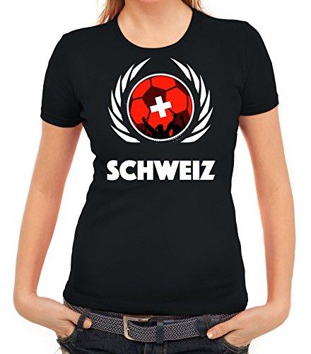 ShirtStreet Swiss Wappen Soccer Fussball WM Fanfest Gruppen Fan Wappen Damen T-Shirt Fußball Schweiz Schwarz