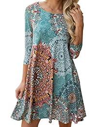 YunYoud Damen Lange Ärmel Partykleider Weinlese Boho Abendkleider Blumen  gedruckt Cocktailkleid Maxi Strand Kleid O-Hals Elegante Kleider Lose… db295362b2