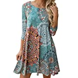 ASHOP Damen Boho Lange Ärmel Kleider Casual Strandkleid Minikleid Floral Partykleid Blumenkleid (XL)