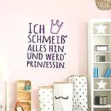 Grandora W5052 Wandtattoo Ich schmeiß alles hin und werd Prinzessin + Krone pink (BxH) 58 x 71 cm