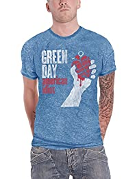 c898a4ed Green Day Shirt American Idiot Vintage Logo Official Mens Blue Burnout
