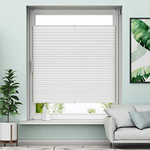 Plissee Klemmfix Verdunkelung Weiß Jalousien Innen Ohne Bohren Rollos Für Fenster 75x200cm