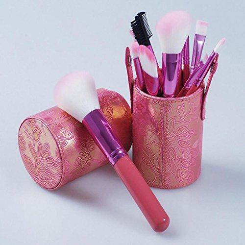 Branchen-shop (Rosa Make-Up Pinsel Abgefüllt 12 Branchen Full-Faser Makeup Tools)