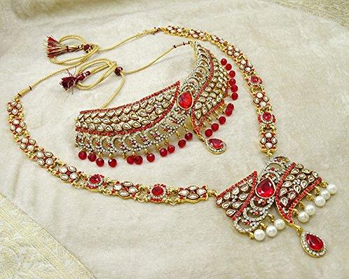 Banithani Collier De Mariée Boucles D'Oreilles Indien Cadeau De Bijoux Traditionnels Pour Les Femmes blanc rouge