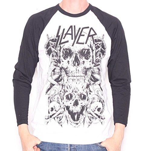 Slayer T Shirt - Skulls Long Sleeve Retro Style 100% Official