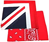 2 x Men's/Women's Paisley Pattern Bandana Head / Neck Scarf 100% Cotton (Union Jack & Red)