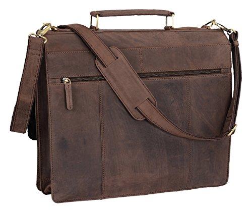 Briefcase AVANCO, Vera Pelle, 41x34x13cm Marrone scuro