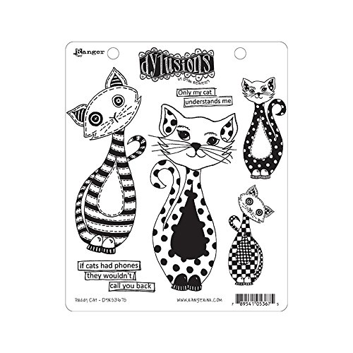 ranger-dylusions-puddy-cat-stamp-set-multicolore