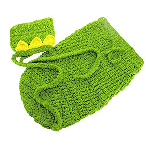Mallb Neugeborenes Baby Jungen Mädchen Fotografie Requisiten Crochet Kostüm Outfits Cute Green Hat Schlafsäcke (Häkeln-mützen Für Baby-jungen)