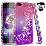 LeYi Compatible with Hülle iPhone 5S / iPhone SE/iPhone 5 / iPhone SE 2 Glitzer Handyhülle mit Panzerglas Schutzfolie(2 Stück),Cover Schutzhülle für Case Handy Hüllen ZX Gradient Pink Purple