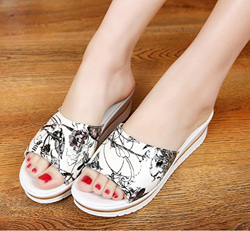 Avec Chaussures Plate LÉté KHSKX Bouche À De Sandales Forme Poisson Des Thirty 5Cm Pantoufles Les nine Sandales Pente La Wedge Traîné 4 Chaussures 87qwdY7