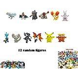 Play house Pokemon Anime kids Cartoon game mixed Random 12 MINI figures (1 Pikachu + 11 other characters )