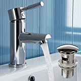 iBathUK | Chrome Basin Sink Mixer Tap Bathroom Faucet with Pop Up Waste TB3013S