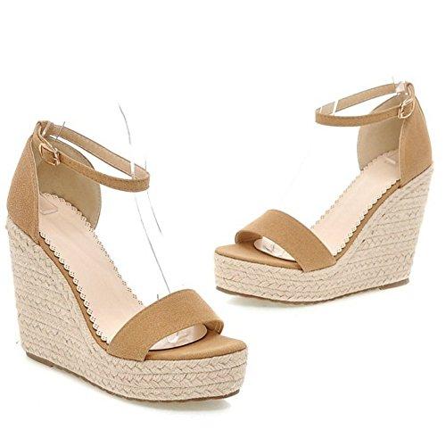 COOLCEPT Damen Mode Hoch Keilabsatz Sommer Sandalen Knochelriemchen Open Toe Schuhe Beige