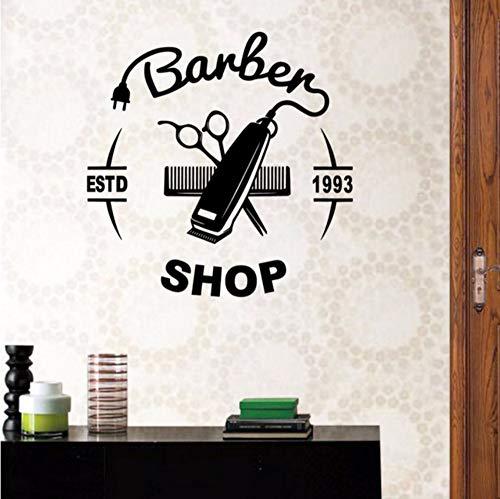 Fushoulu 40X40 CmMann Barber Shop Aufkleber Name Hacken Brot Aufkleber Haarschnitt Haarschneidemaschine Rasierer Poster Vinyl Wandkunst Aufkleber Decor