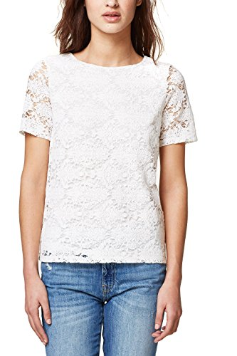 ESPRIT Collection Damen T-Shirt 038EO1K007, Weiß (Off White 110), X-Small (White Wedding-shirt)