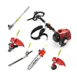 NEW TRUESHOPPING® 68CC 'TOTAL GARDENERX5' PETROL LONG REACH MULTI FUNCTION 5 IN 1 GARDEN TOOL OREGON CHAIN & BAR INCLUDING: HEDGE TRIMMER, STRIMMER, BRUSHCUTTER, CHAINSAW & FREE EXTENSION POLE 3KW / 4HP