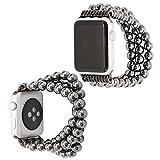 Für Apple Uhrenarmband 38mm, lala Pink Uhrenarmband Armband Naturstein Perlen Elastisches Ersatzarmband Band für Apple Watch Series 1 Series 2 Series 3,Schwarz Hematite