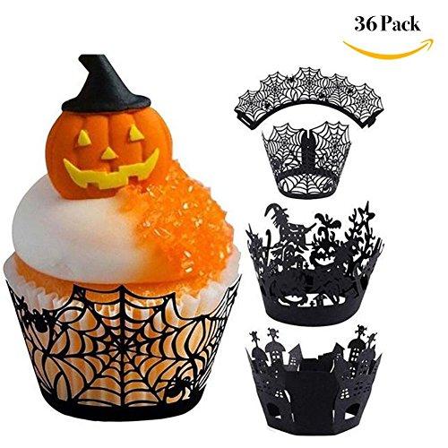 TUANTALL Pack von 36 Halloween Cupcake Papier Wrapper Spiderweb Laser Cut Backen Kuchen Pappbecher für Hochzeit Halloween Party Geburtstag Dekoration (3 Muster)