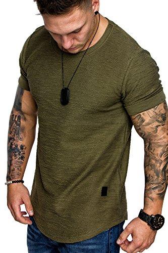 Amaci&Sons Herren Oversize Vintage Crew-Neck T-Shirt Sweatshirt 6062 Khaki M