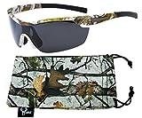 Hornz Brown camuflaje del bosque polarizados gafas de sol para los hombres del abrigo alrededor del marco de Deporte y que coinciden con bolsa de microfibra