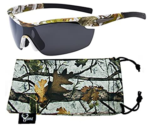 Hornz White Snow Camouflage Polarised Sunglasses for Men Wrap Around Sport Frame & Free Matching Microfiber Pouch – White Snow Camo Frame - Smoke