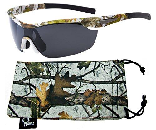 Hornz weißen Schnee camouflage Polarisierte Sonnenbrille für Männer um Sport Rahmen & freie passende Beutel aus Mikrofaser - Weiß Schnee Rahmen - Rauch- Objektiv