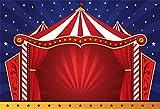 YongFoto 3x2m Vinilo Fondo de Fotografia Tema del Circo Tienda De Rayas Rojo Cortina Escenario Noche Estrellada Estrellas Telón de Fondo Photo Booth Infantil Party Banner Niños Photo Studio Atrezzo
