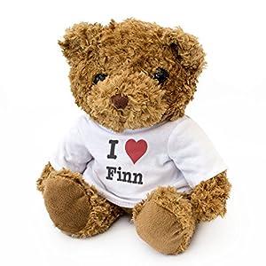 London Teddy Bears Oso de Peluche con Texto en inglés I Love Finn, Bonito y Adorable, Regalo de cumpleaños, Navidad, San Valentín