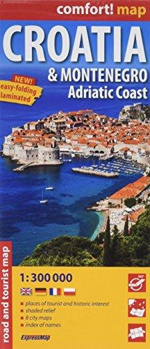 Croatie et Monténégro, Côte Adriatique : 1/300 000