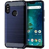 Aksuo Xiaomi Mi A2 Lite Funda Textura Fibra de Carbono , TPU Carcasa Ligera Silicona Suave